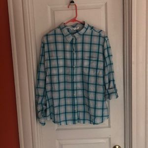 Light Blue and White Plaid Button Down